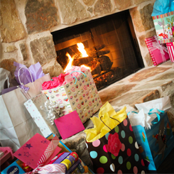 Presents By the Fireplace